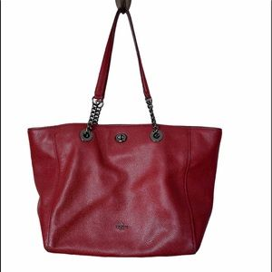 Coach 56830 Pebble Leather Turnlock Chain Tote Bag